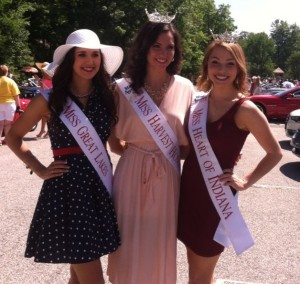 Rose & Kathleen, pictured with Paige Conrad; Miss Harvest Homecoming.